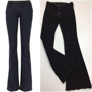 MOTHER The Curfew Black Flare Leg Denim Jeans